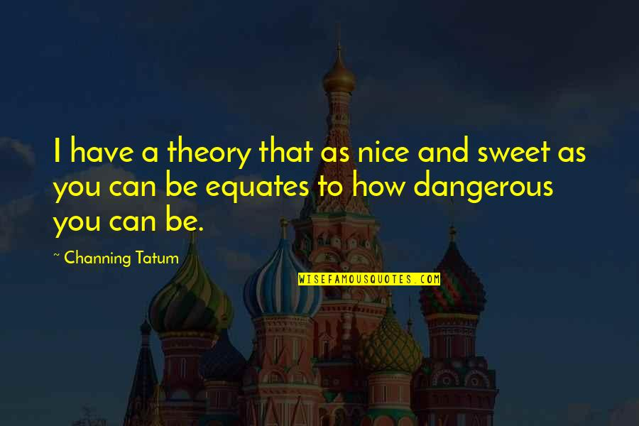 Really Nice And Sweet Quotes By Channing Tatum: I have a theory that as nice and