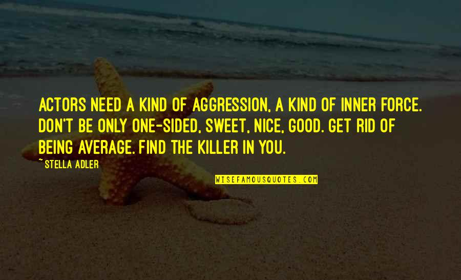 Really Nice And Sweet Quotes By Stella Adler: Actors need a kind of aggression, a kind