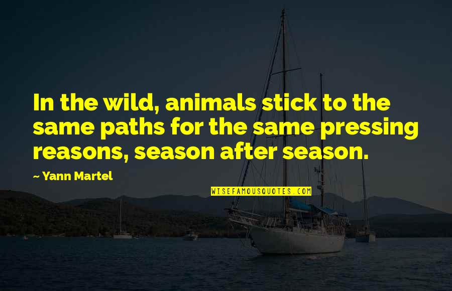 Really Nice And Sweet Quotes By Yann Martel: In the wild, animals stick to the same