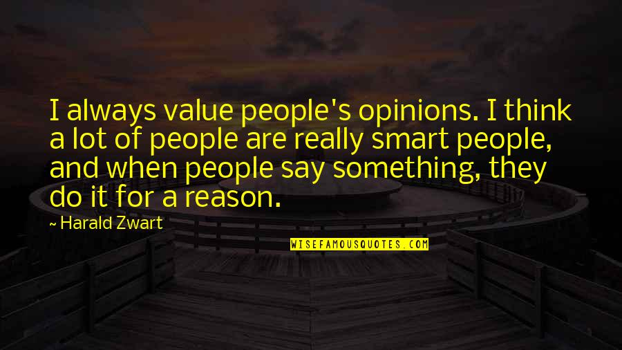 Really Smart Quotes By Harald Zwart: I always value people's opinions. I think a