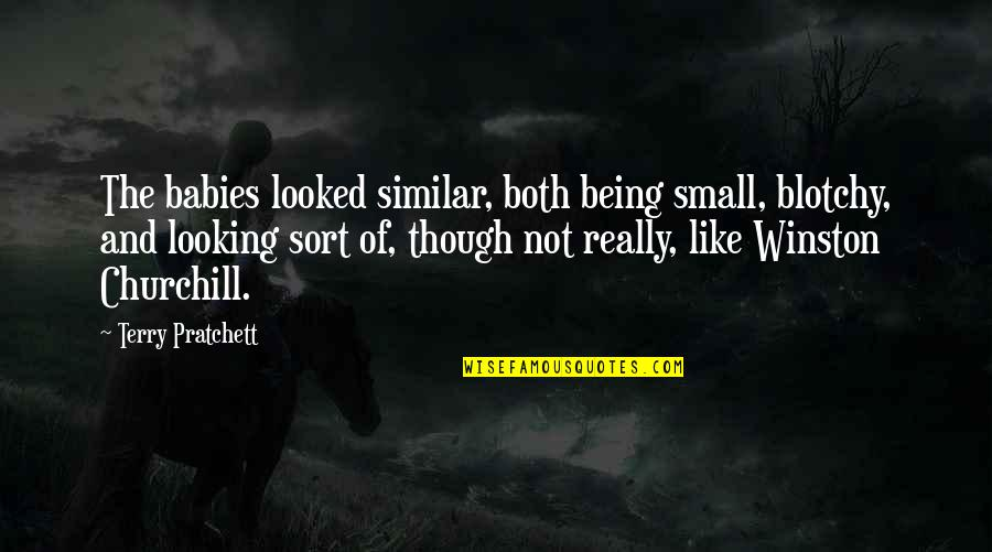 Really Though Quotes By Terry Pratchett: The babies looked similar, both being small, blotchy,