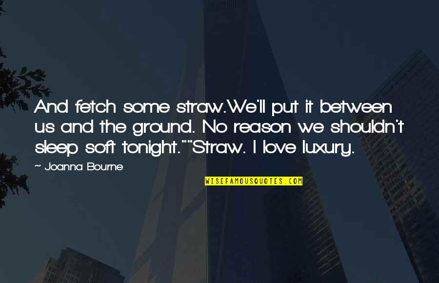Reason And Love Quotes By Joanna Bourne: And fetch some straw.We'll put it between us