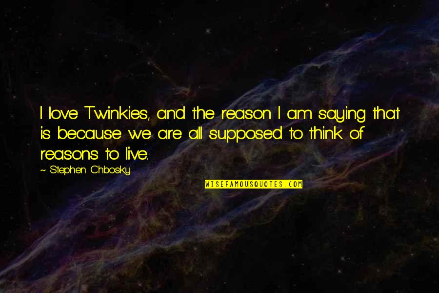 Reason And Love Quotes By Stephen Chbosky: I love Twinkies, and the reason I am