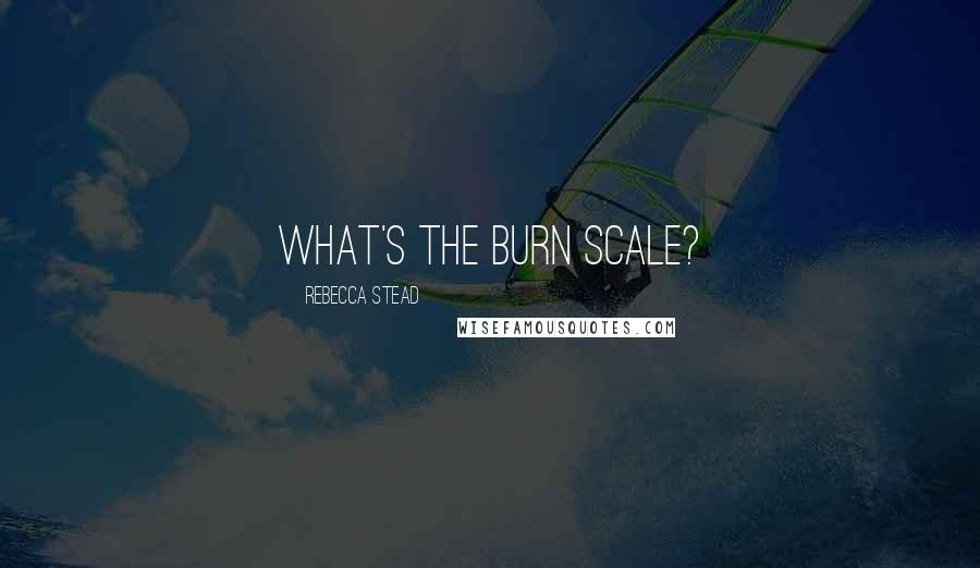 Rebecca Stead quotes: What's the burn scale?