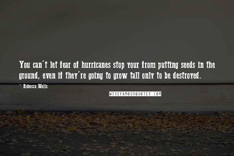 Rebecca Wells quotes: You can't let fear of hurricanes stop your from putting seeds in the ground, even if they're going to grow tall only to be destroyed.