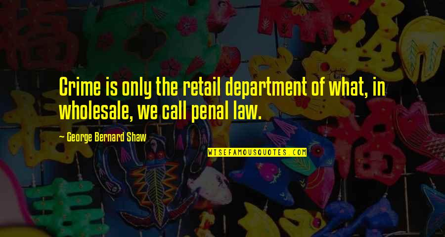 Rebellious Quotes By George Bernard Shaw: Crime is only the retail department of what,