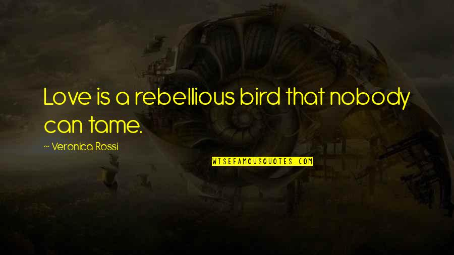 Rebellious Quotes By Veronica Rossi: Love is a rebellious bird that nobody can
