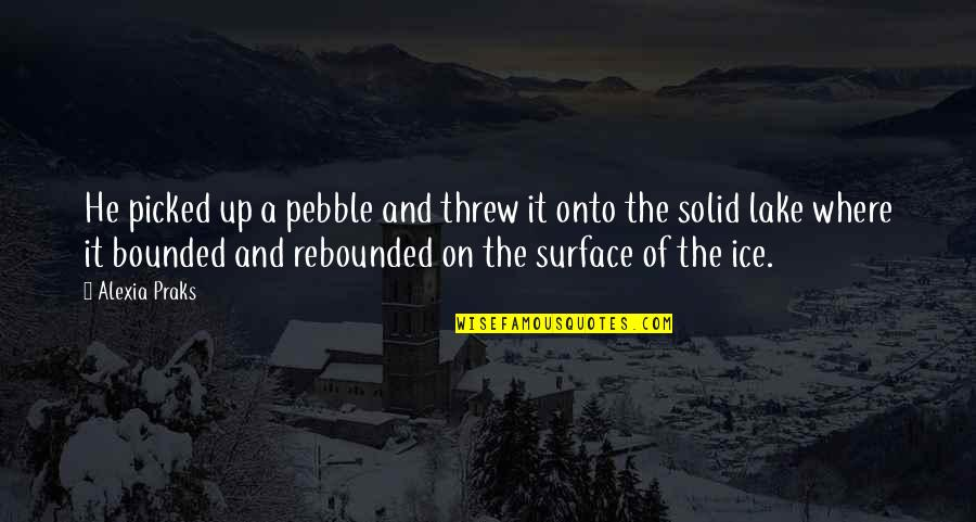 Rebounded Quotes By Alexia Praks: He picked up a pebble and threw it