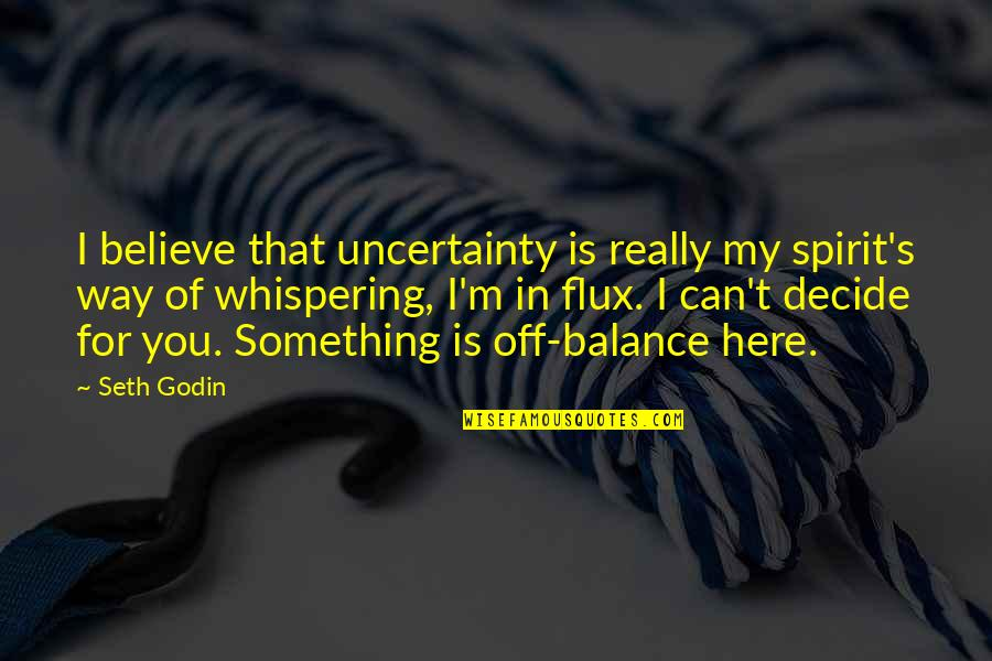 Rebounding Basketball Quotes By Seth Godin: I believe that uncertainty is really my spirit's