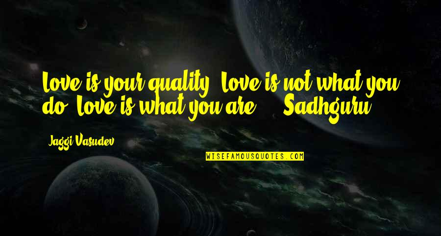 Rec Therapy Quotes By Jaggi Vasudev: Love is your quality. Love is not what