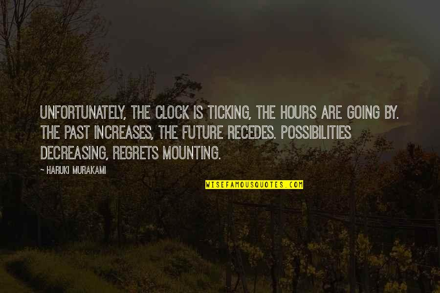 Recedes Quotes By Haruki Murakami: Unfortunately, the clock is ticking, the hours are
