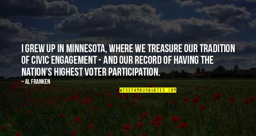 Recent Highlights Love Quotes By Al Franken: I grew up in Minnesota, where we treasure