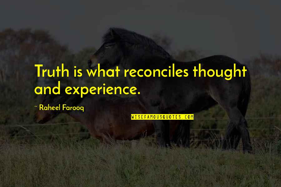 Reconciles Quotes By Raheel Farooq: Truth is what reconciles thought and experience.