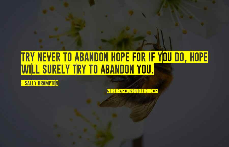 Recovery Inspirational Quotes By Sally Brampton: Try never to abandon hope for if you