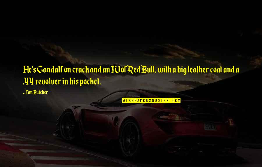 Red Bull Quotes By Jim Butcher: He's Gandalf on crack and an IV of