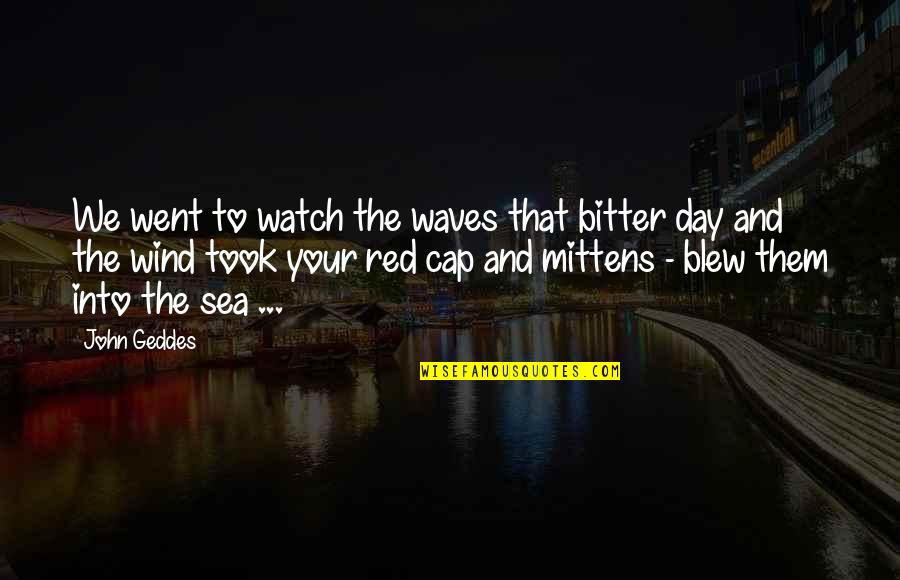Red Wind Quotes By John Geddes: We went to watch the waves that bitter