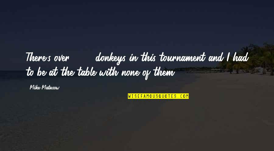 Redemption In The Kite Runner Quotes By Mike Matusow: There's over 2000 donkeys in this tournament and