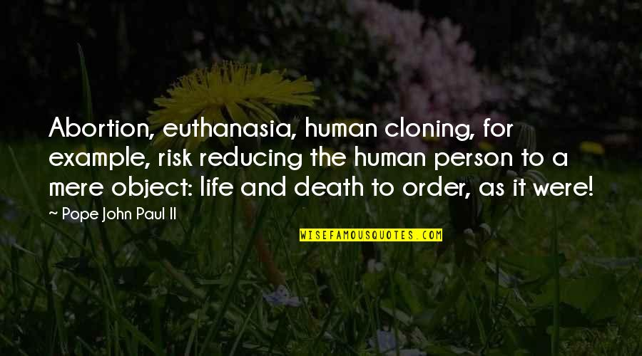 Reducing Quotes By Pope John Paul II: Abortion, euthanasia, human cloning, for example, risk reducing