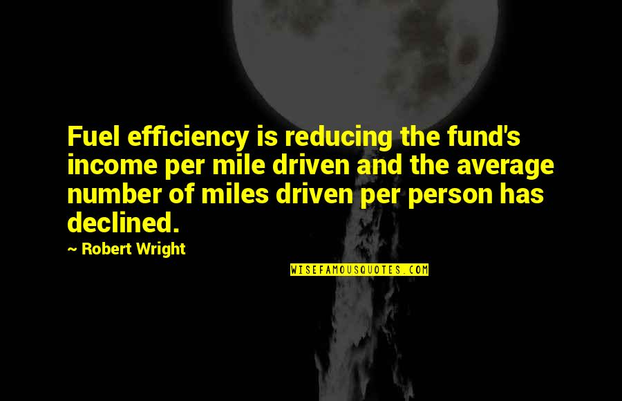Reducing Quotes By Robert Wright: Fuel efficiency is reducing the fund's income per