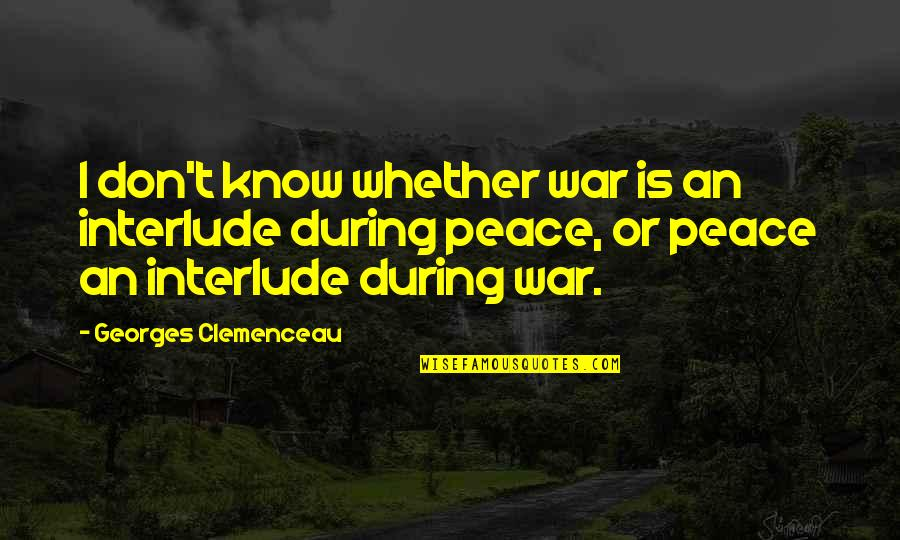 Referentia Quotes By Georges Clemenceau: I don't know whether war is an interlude