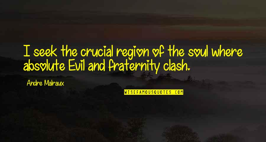 Region Quotes By Andre Malraux: I seek the crucial region of the soul
