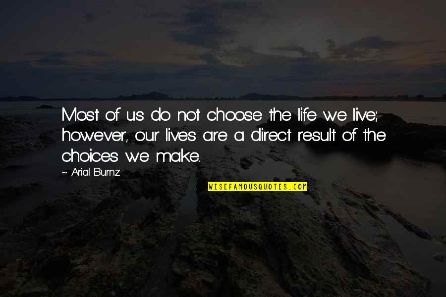 Regret Hurting Someone Quotes By Arial Burnz: Most of us do not choose the life