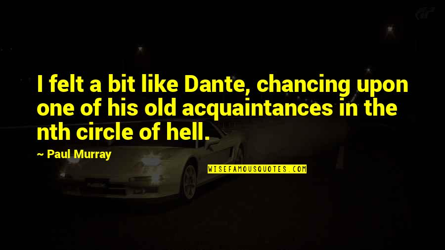 Regret Hurting Someone Quotes By Paul Murray: I felt a bit like Dante, chancing upon