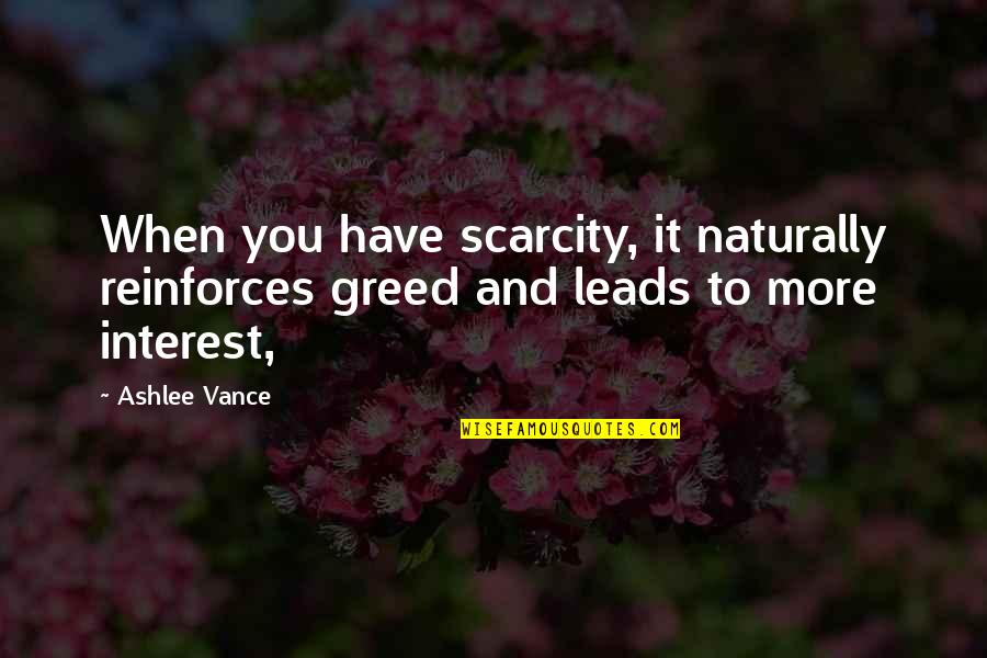 Reinforces Quotes By Ashlee Vance: When you have scarcity, it naturally reinforces greed