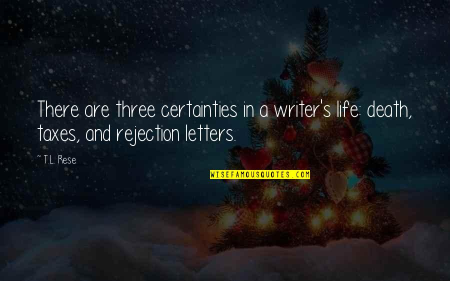 Rejection In Life Quotes By T.L. Rese: There are three certainties in a writer's life: