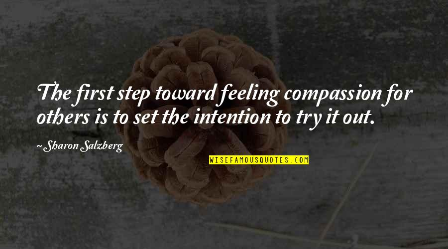 Relating Quotes By Sharon Salzberg: The first step toward feeling compassion for others