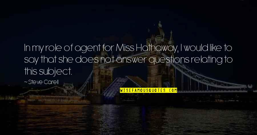 Relating Quotes By Steve Carell: In my role of agent for Miss Hathaway,