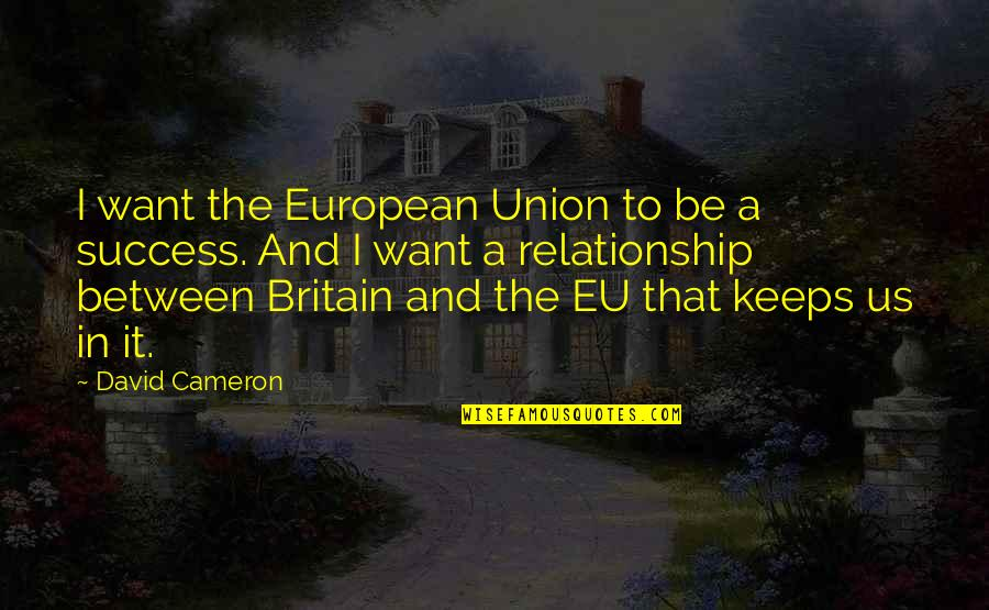 Relationship And Quotes By David Cameron: I want the European Union to be a