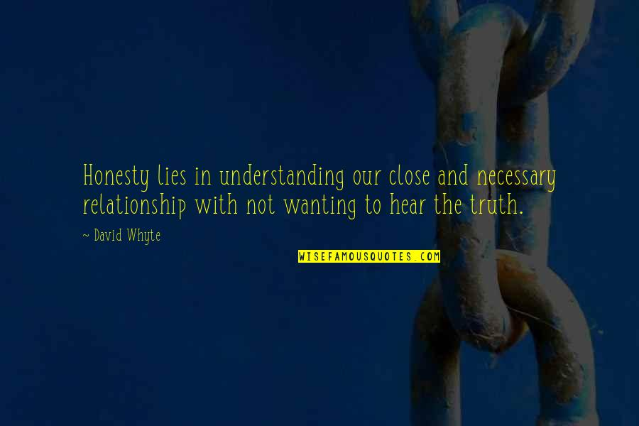 Relationship And Quotes By David Whyte: Honesty lies in understanding our close and necessary