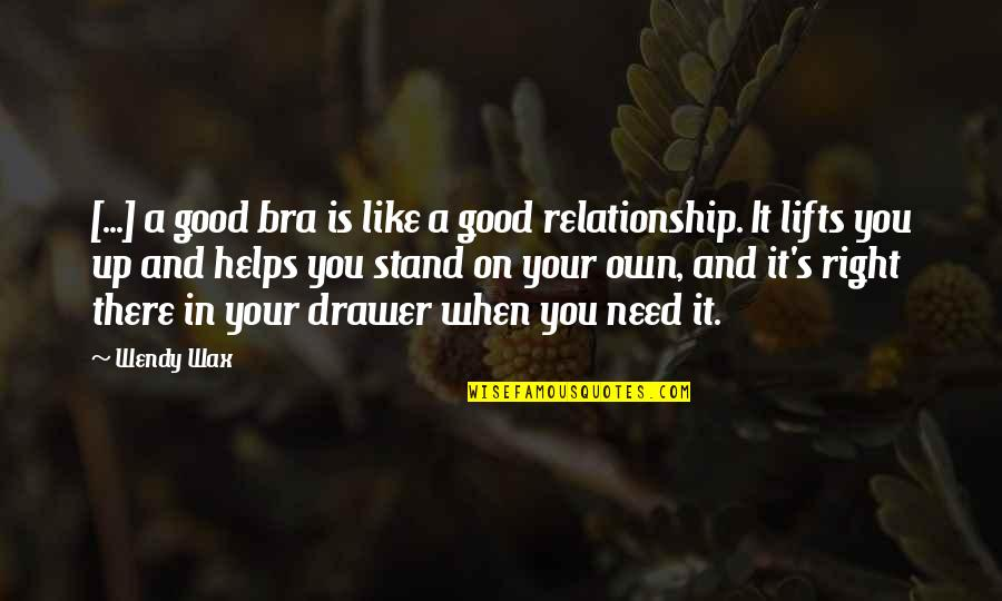 Relationship And Quotes By Wendy Wax: [...] a good bra is like a good
