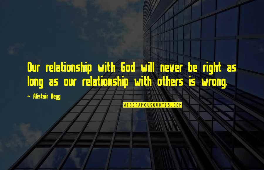 Relationships With God Quotes By Alistair Begg: Our relationship with God will never be right