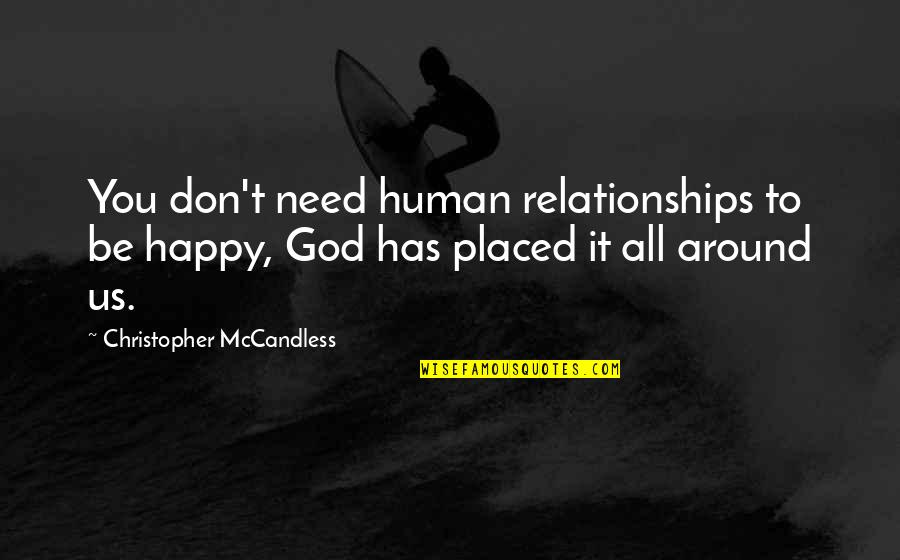 Relationships With God Quotes By Christopher McCandless: You don't need human relationships to be happy,