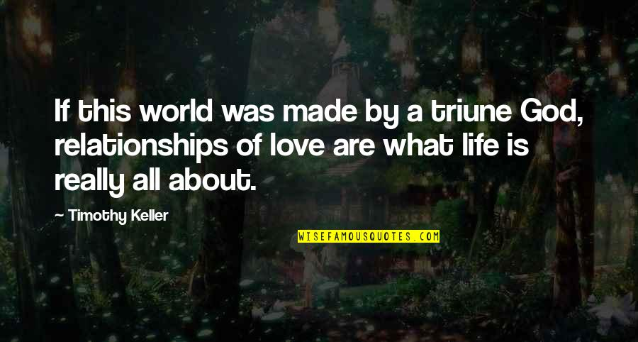 Relationships With God Quotes By Timothy Keller: If this world was made by a triune