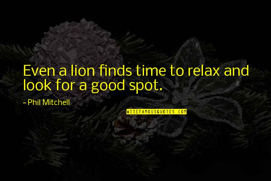 Relax Time Quotes By Phil Mitchell: Even a lion finds time to relax and