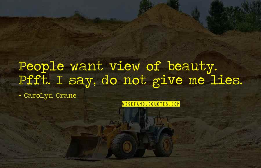 Relevent Quotes By Carolyn Crane: People want view of beauty. Pfft. I say,