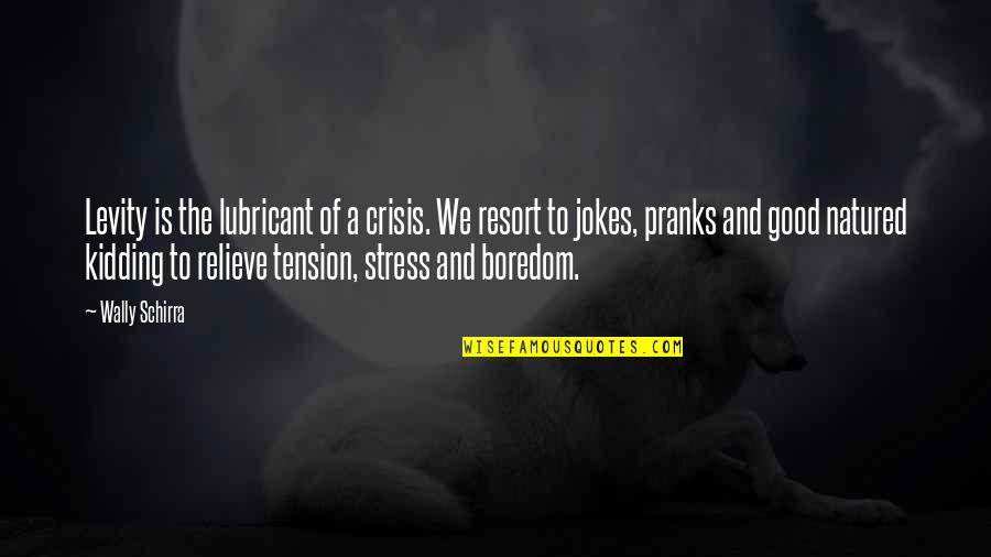 Relieve Tension Quotes By Wally Schirra: Levity is the lubricant of a crisis. We