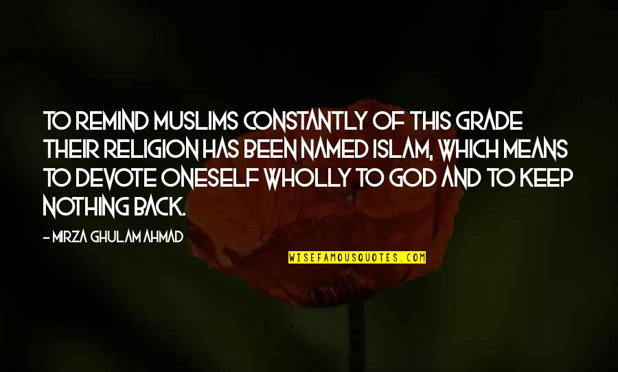 Religion Islam Quotes By Mirza Ghulam Ahmad: To remind Muslims constantly of this grade their