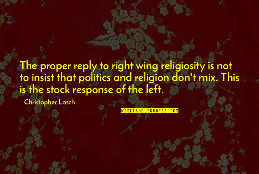 Religion Politics Quotes By Christopher Lasch: The proper reply to right wing religiosity is
