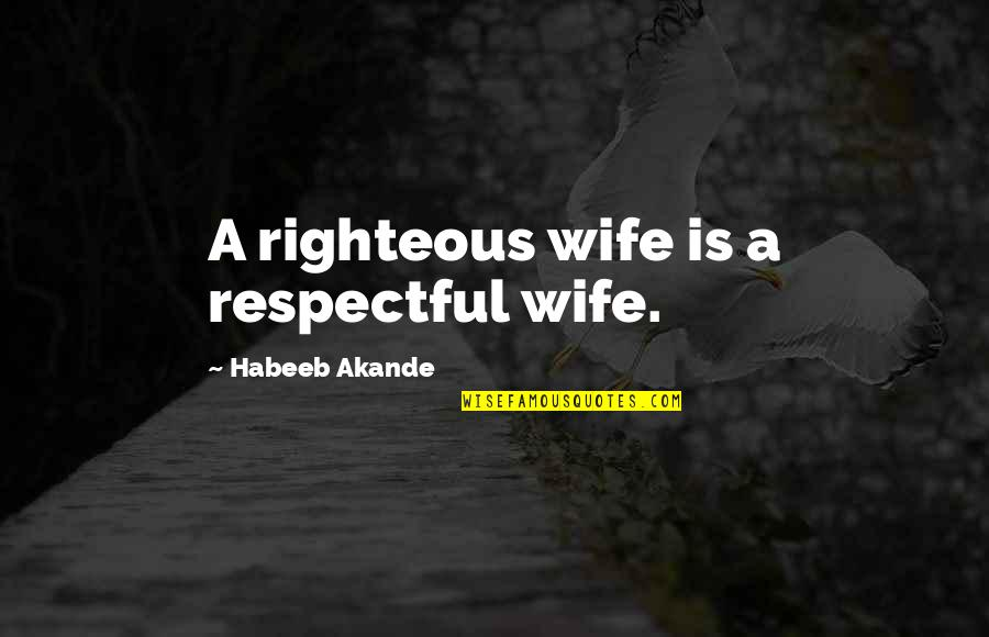 Religious Piety Quotes By Habeeb Akande: A righteous wife is a respectful wife.