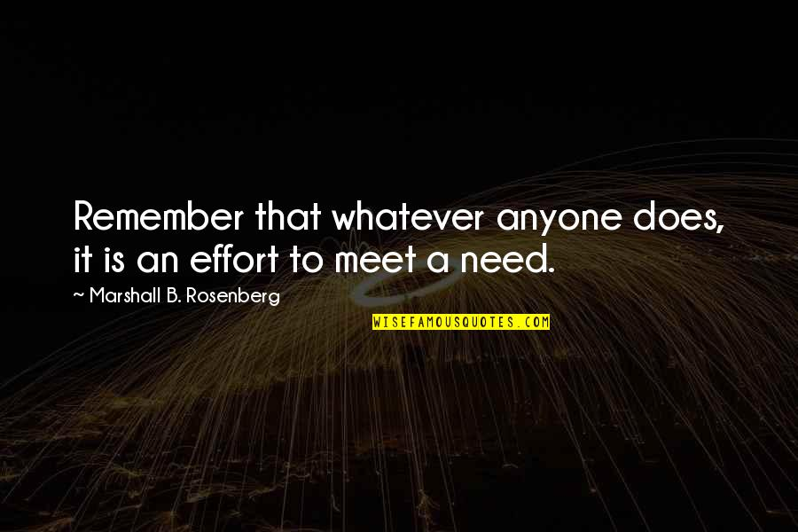 Remember That Quotes By Marshall B. Rosenberg: Remember that whatever anyone does, it is an
