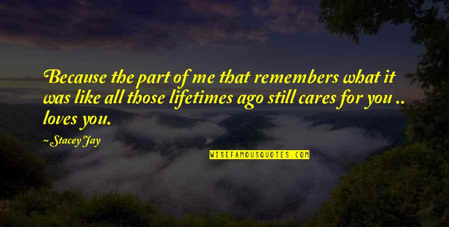 Remember That Quotes By Stacey Jay: Because the part of me that remembers what