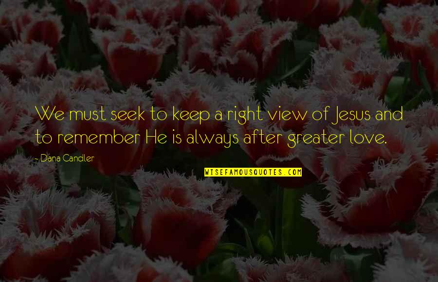 Remember We Love You Quotes By Dana Candler: We must seek to keep a right view