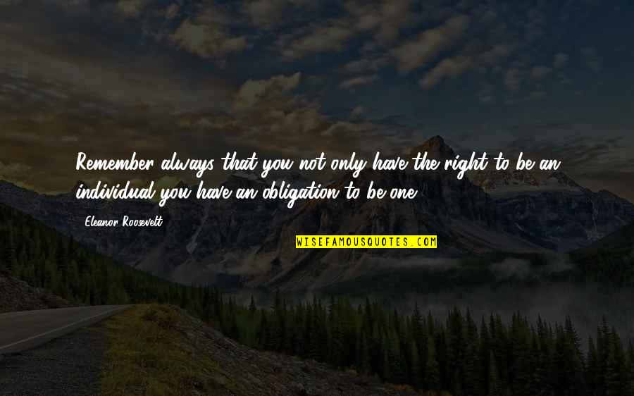 Remember You Always Quotes By Eleanor Roosevelt: Remember always that you not only have the