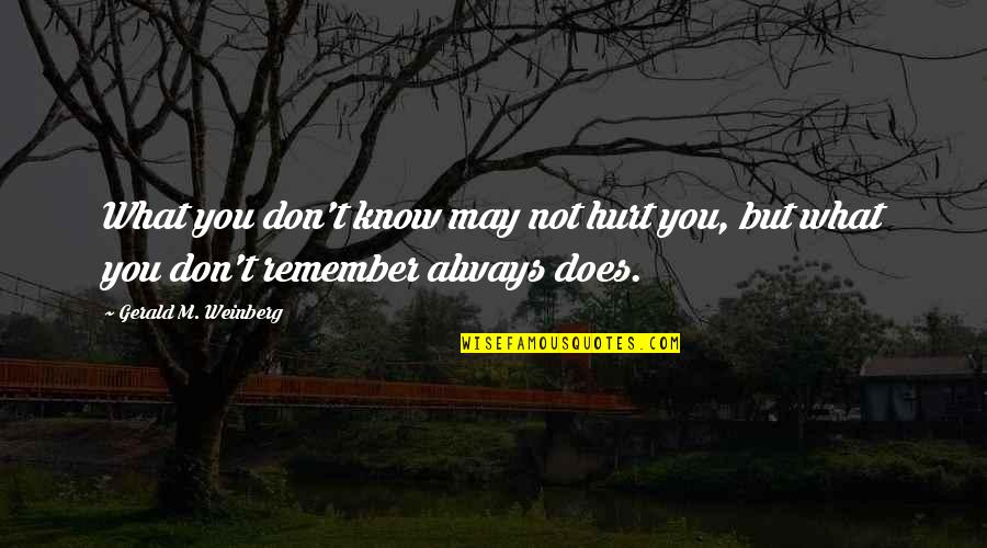 Remember You Always Quotes By Gerald M. Weinberg: What you don't know may not hurt you,