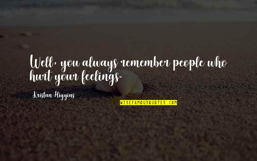 Remember You Always Quotes By Kristan Higgins: Well, you always remember people who hurt your