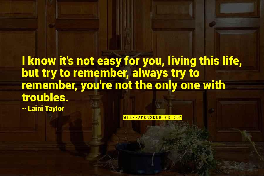 Remember You Always Quotes By Laini Taylor: I know it's not easy for you, living